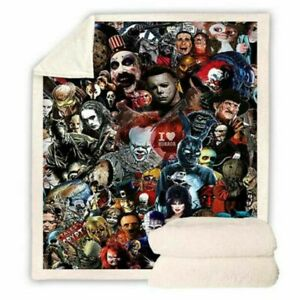 Horror Movie 3D Print Sherpa Blanket Sofa Couch Quilt Cover Throw Bedding