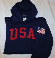 New Men's Polo Ralph Lauren Soft Fleece Pullover USA Patch Hoodie Size XL