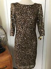 Alex Evenings Women's Dress Brown Sequin Lined Medium