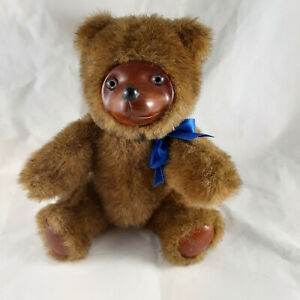 Raikes Teddy Bear Applause fully jointed wooden face foot pads 9 inches 1985 vtg