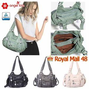 ANGELKISS  Womens Shoulder Bag Soft Washed PU Leather Vintage Brand Tote Satchel