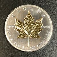 2011 CANADA MAPLE LEAF 1 OZ .9999 FINE SILVER GOLD GILDED GEM BU UNC CHOICE (MR)