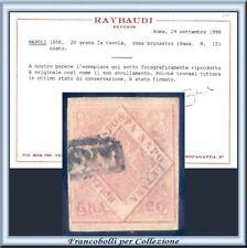 ASI 1858 Napoli 20 gr. n. 12 Usato Certificato Raybaudi Antichi Stati  Italiani