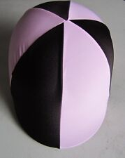 Horse Riding Helmet Cover Pale Pink & Brown AUSTRALIAN MADE Your choice of size