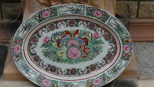 Antique Japanese Family Rose Rare Large Butterflies Birds Medalion Platter