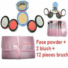 Face Foundation Powder Makeup Palette + 12 Brush Pink Pouch + 2 Cosmetic Blush