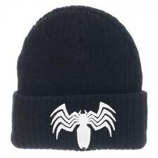OFFICIAL MARVEL COMICS SPIDER-MAN VENOM SYMBOL BLACK CUFF BEANIE HAT (NEW)