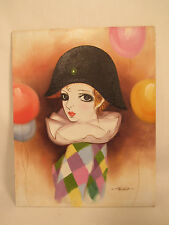 Vintage Female Harlequin Clown Painting On Board Artist Signed
