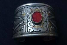 Rare! Antique Wide Silver, Gilding and Carnelian Bracelet (Cuff)