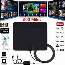 300 Miles Range Digital TV Antenna 1080P Amplified HDTV Booster USB Power HD 4K