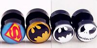 1Piece Men Surgical Superman Batman Expander Look Taper Plug Round Earring Studs