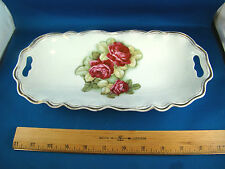 Antique Bavaria Porcelain Relish Celery Dish Hand Painted Roses White @16