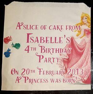 Personalised Disney Sleeping Beauty Princess White Cake / Party Bags