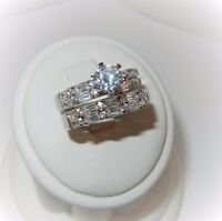 Wedding Engagement Ring Band set 925 Sterling Silver Cubic Zirconia NEW sz 8