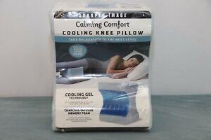 SharperImage Calming Comfort Cooling Knee Pillow Charcoal Infuse Gel Memory Foam