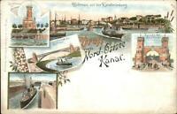 Gruss Aus Vom Nord-Ostsee Kanal Canal Holtenau Lighthouse c1900 Postcard