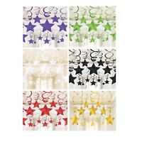 30 Metallic Star Swirls Hanging Decorations Kit Room Party Ceiling Birthday Kids