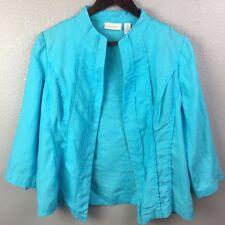 Chicos 1 Womens Small Blue 100% Linen Light Open Front Blazer Cardigan Jacket