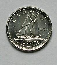 2001P CANADA Elizabeth II Coin - 10 Cents - BU Gem UNC - tall sailing ship