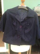 Betty Jackson 8 Blue Cropped Jacket Mac Coat Vgc