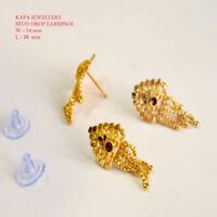 22ct Gold Designer Stud Sleeper Earring Indian Asian gold design earrings