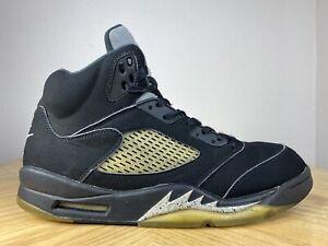 Men's Nike Air Jordan 5 V Retro Black Metallic Silver 2016 Size 10.5 845035-003