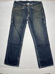 True Religion Bobby Super T Blue Jeans 36x33 Straight Leg large Stitch Distress