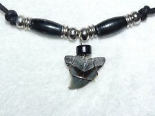 13/16+ inch hemipristis shark tooth necklace with horn beads and adjustable cord