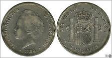España 5 pesetas 1893 (*18*  ) PGV Ag BC / F Alfonso XIII 00149
