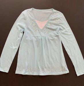 Justice Girls Aqua Mint Green Sequin long sleeve V-neck Tie Top/Shirt sz 12 NWT
