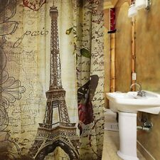 Waterproof Polyester Shower Curtain Retro Vintage Paris Eiffel Tower
