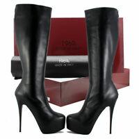 1969 Plateaustiefel Gr. 43 Leder High Heels Boots Hand Made in Italy Zipp hinten