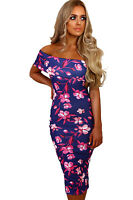 New blue floral print bodycon midi dress party summer dress Size UK 8-10