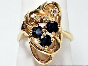 14k Solid Yellow Gold Natural Blue Sapphire And Fine Diamond Ladies Ring Sz. 4.5