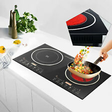 110V Electric Countertop/Built in Induction Ceramic Cooker Cooktop 2Burner 2600W