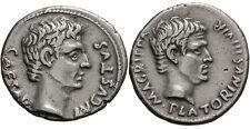 AUGUSTUS AND AGRIPPA, 13 BC. DENARIUS 3.95G GUARANTEED AUTHENTIC VERY RARE & EF