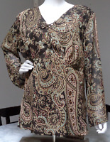 CATO WOMAN 1X BOHO PAISLEY V-NECK LINED TUNIC BLOUSE TOP BROWN PLUS SIZE18/20W