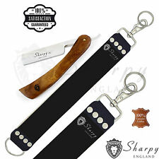 SALON STRAIGHT CUT THROAT WET SHAVING RAZOR RASOIR LEATHER SHARPENING STROP BELT