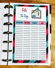 Bills to Pay Dashboard Insert for use with MINI HAPPY Planner
