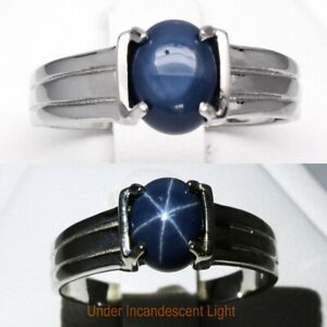 8x6mm Natural 6 Ray Blue Star-Sapphire Ring in 925 Sterling Silver