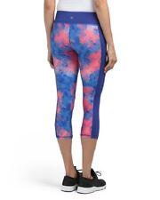 New Kyodan Sz Medium Digital Print Capris Workout Leggings Yoga Pants Pink Blue