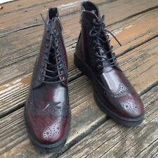 ASOS Wingtip Oxford Leather Boots Sz 7 8 Oxblood Cordovan Burgundy Mens Shoes