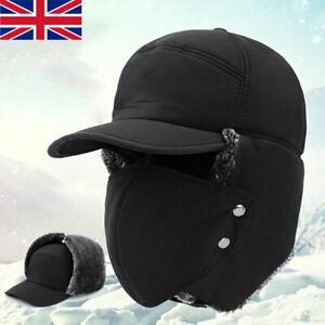 Aviator Trapper Trooper Ski Hats Winter Earflap Russian Face Mask Warm Black Cap