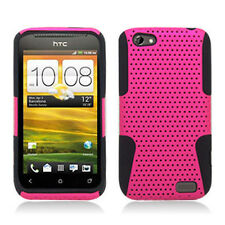 For HTC One V MESH Hybrid Silicone Rubber Skin Case Phone Cover Pink