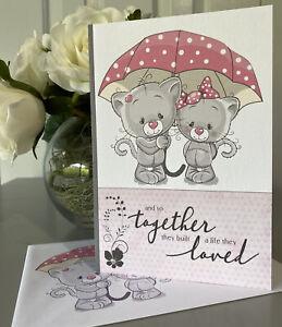 ANNIVERSARY - Handmade Greeting Card - Cute Happy Anniversary, Together, Love