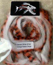 Barred White & Hot Orange Rabbit Strips 3mm