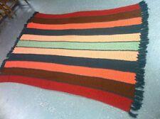 "Vintage Large Striped Handmade knit/crochet Afghan Blanket Throw Bedding 74""x55"""