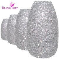 False Nails Silver Gel Ballerina Coffin Bling Art 24 Fake Acrylic Tips 2g Glue