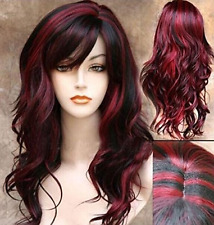 Women Synthetic Curly Wavy Black With Wine Cosplay Party Long Hair Full Wig