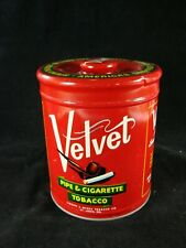 Vintage Velvet Pipe and Cigarette Tabacco Red Tin 14 oz Can with Lid